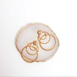 Zella triple hoop gold earrings